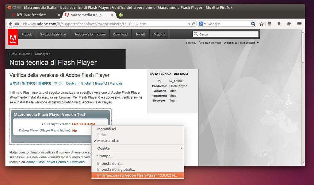 versione-flash-ubuntu-linux