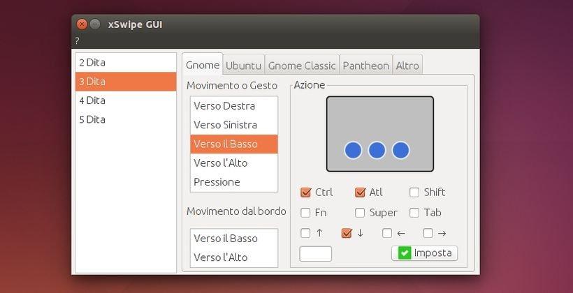 xSwipe GUI semplice tool per configurare le gesture del
