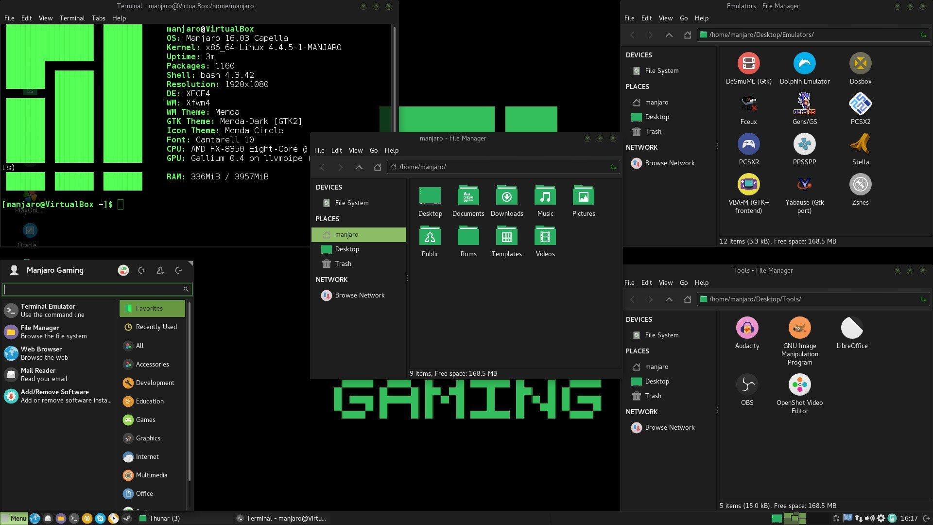 manjaro linux gaming 16.06