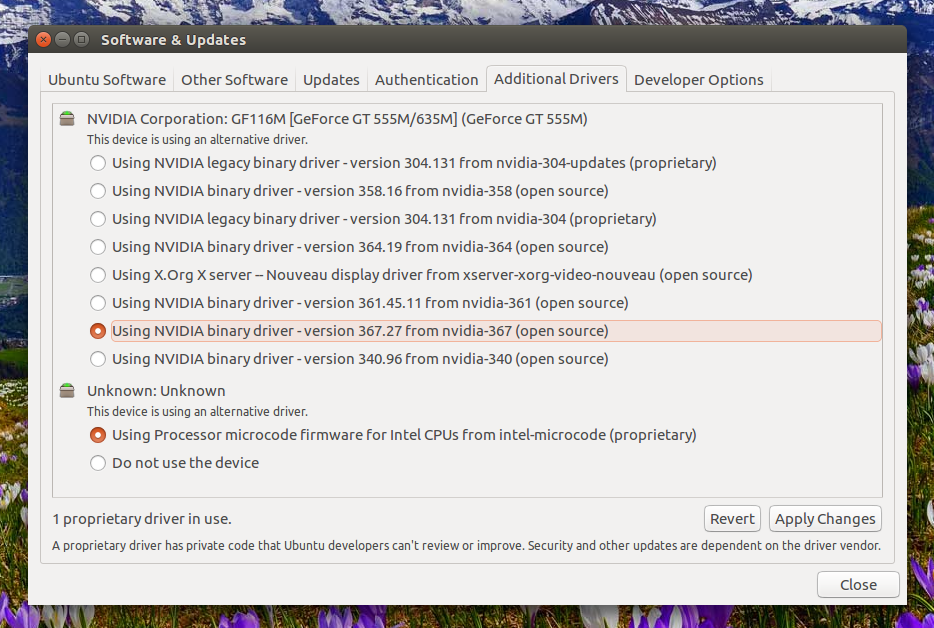 software-updates-drivers nvidia driver ppa