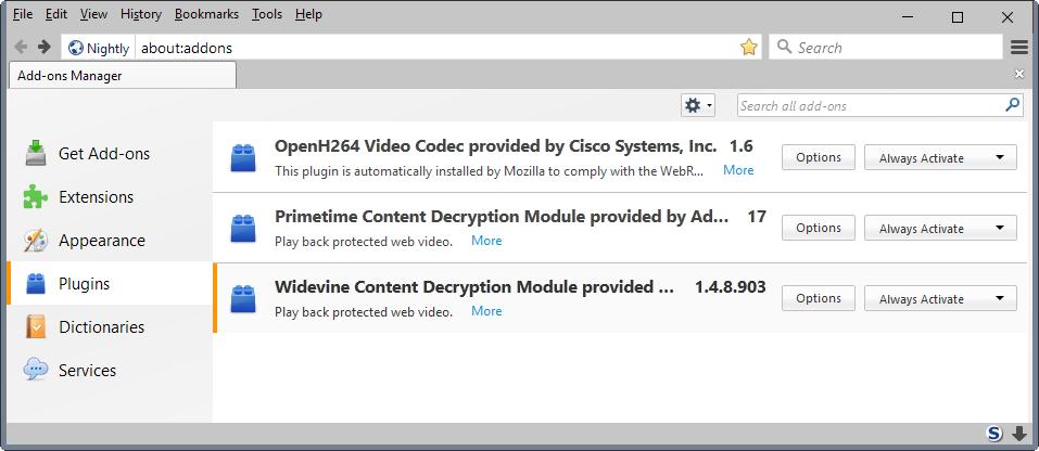 google-widevine Firefox 49