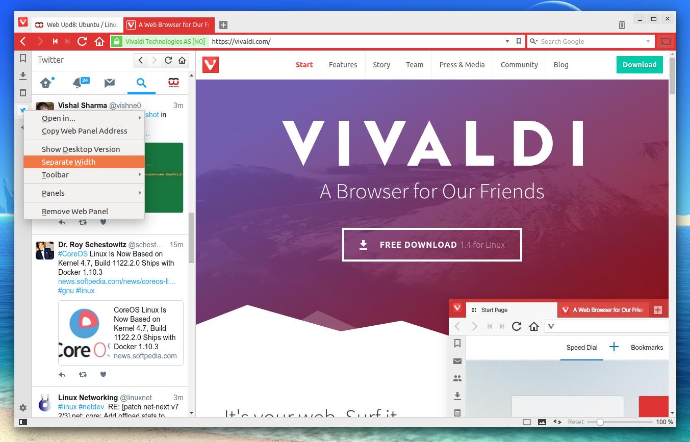vivaldi 1.4 webpanels