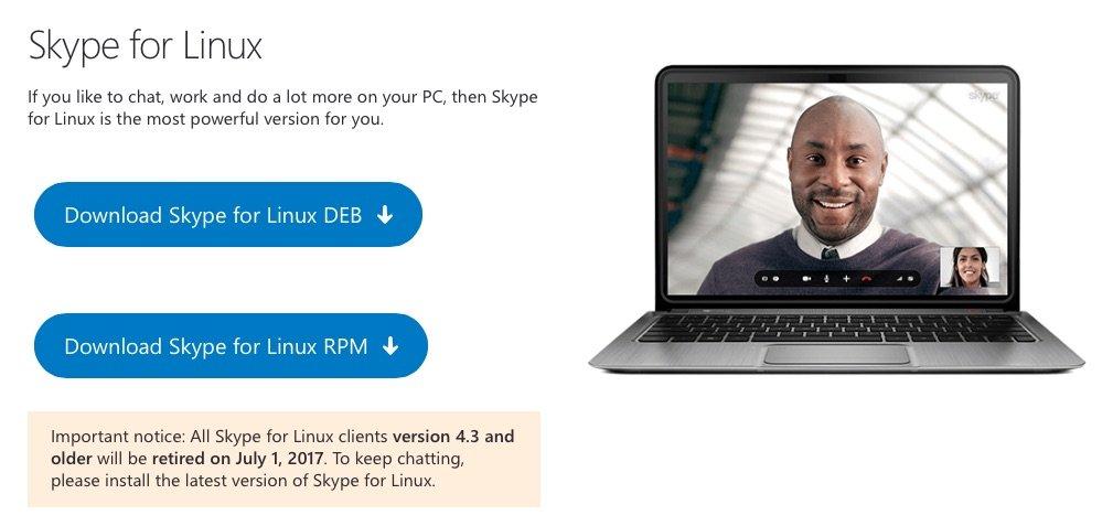 Skype: la versione nativa per Linux smetterà di funzionare a Luglio Skype for Linux Client 4.3 retired TechNinja