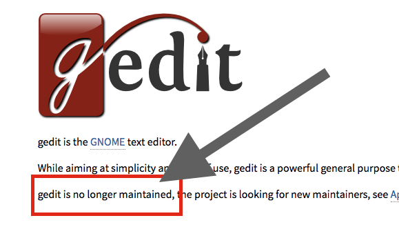gedit unmaintained