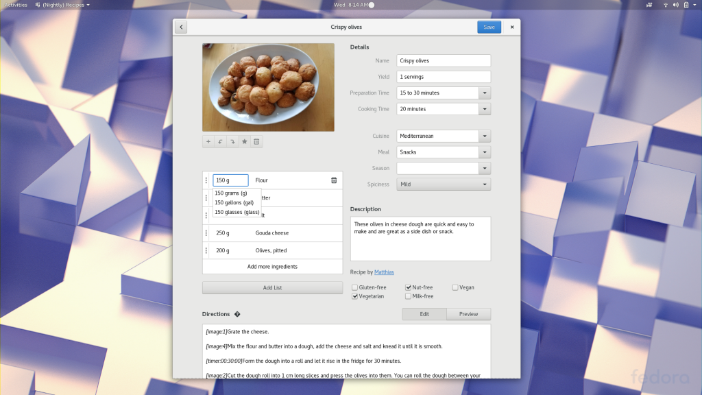 inline editing gnome recipes 3.26