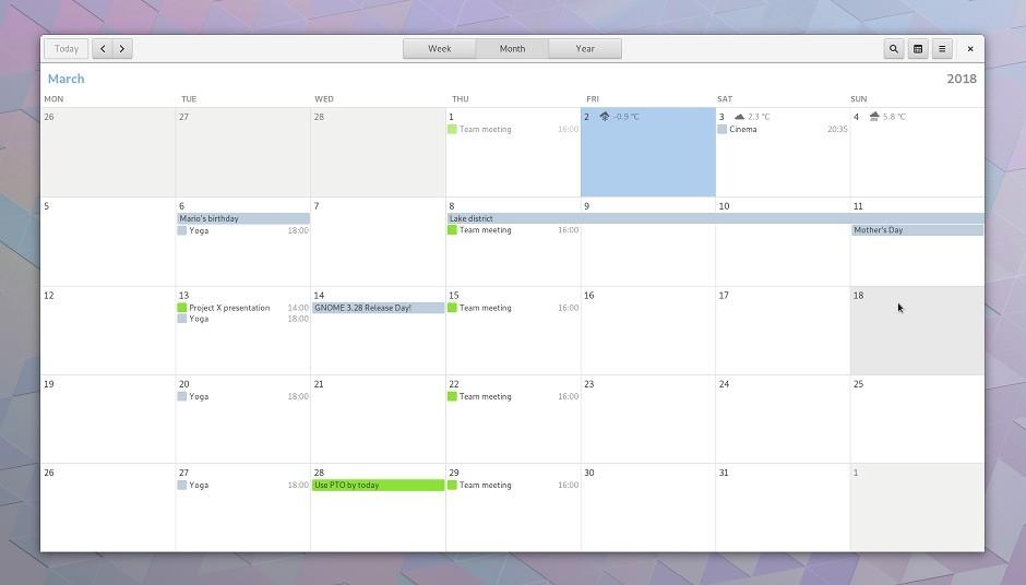 gnome 3.28 calendar