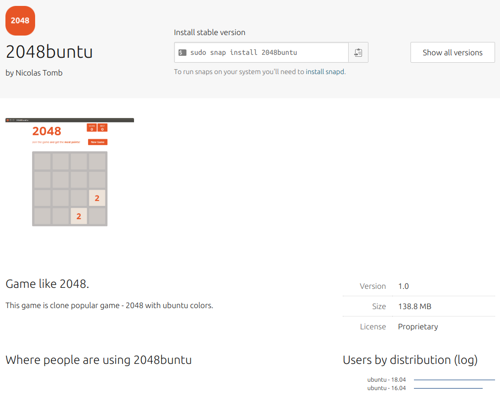 2048buntu-game-ubuntu-snap-store canonical