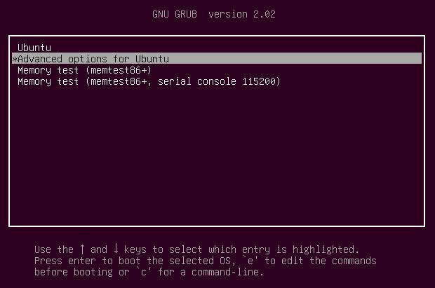 resettare password ubuntu passo 1