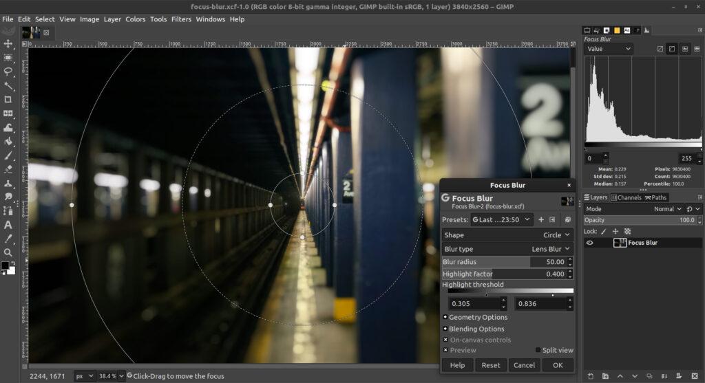 Focus Blur gimp 2.10.20