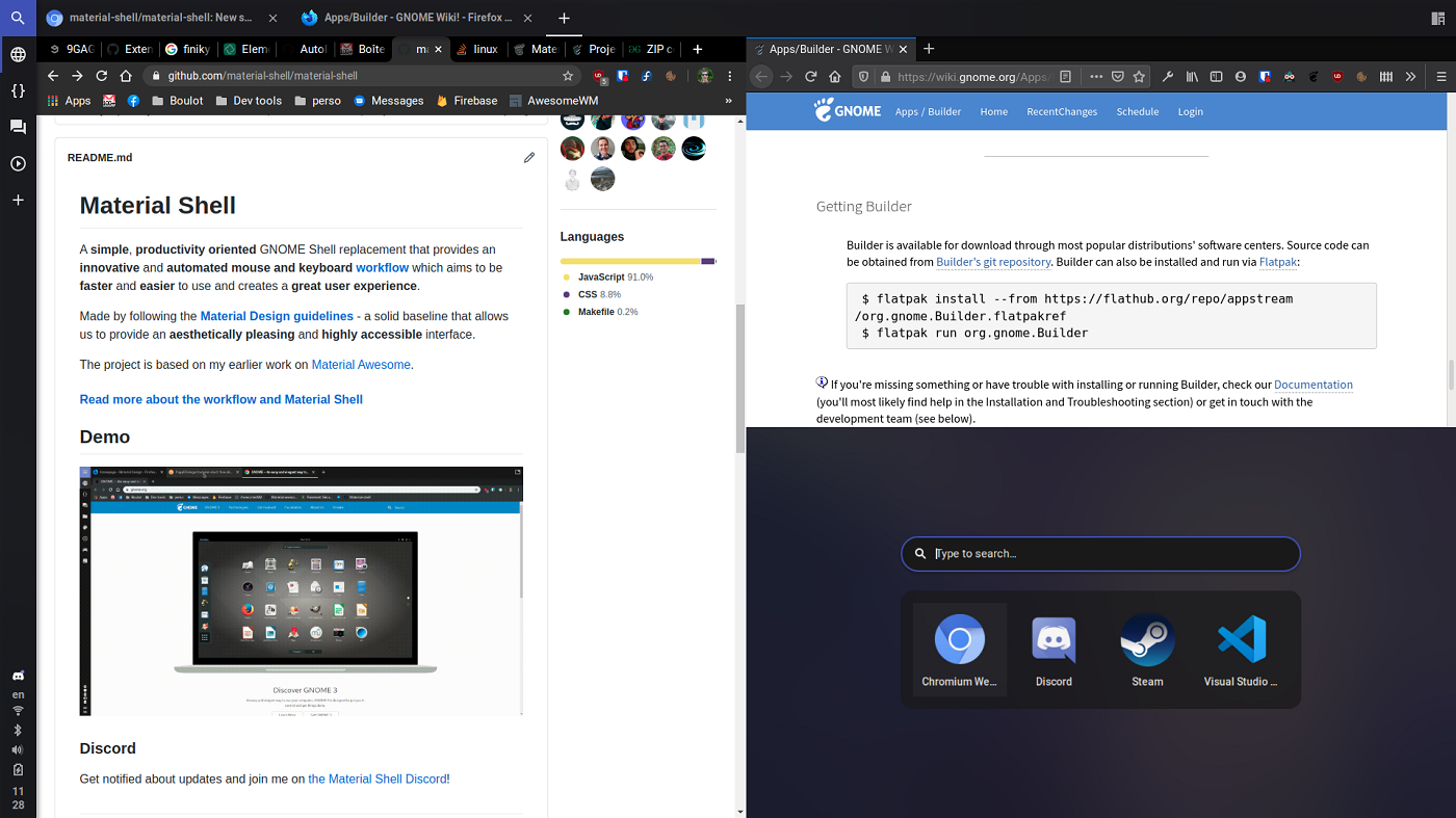 gnome material shell extension