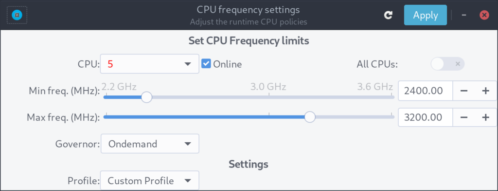 Cpupower-gui cpu governor