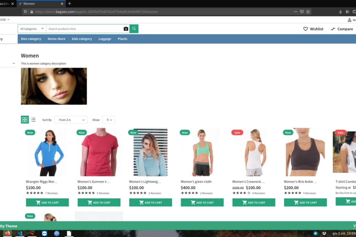 bagisto open source e-commerce vetrina prodotti