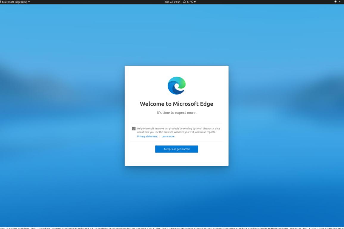 linux edge welcome screen