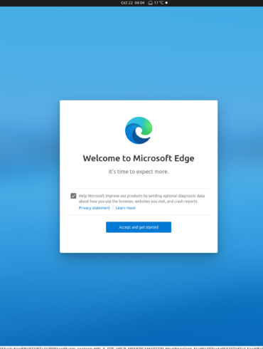 linux edge welcome screen