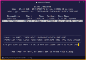 gnu/linux usb cfdisk cli