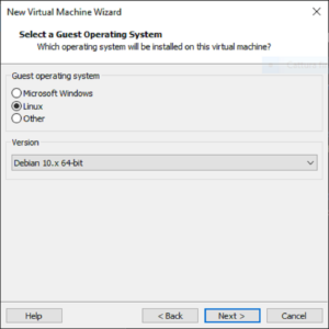 vmware workstation player select os type