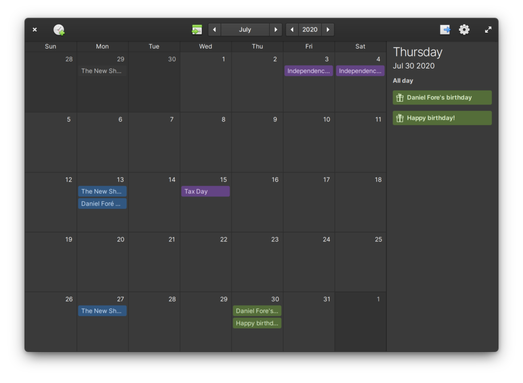 calendar elementary os 6