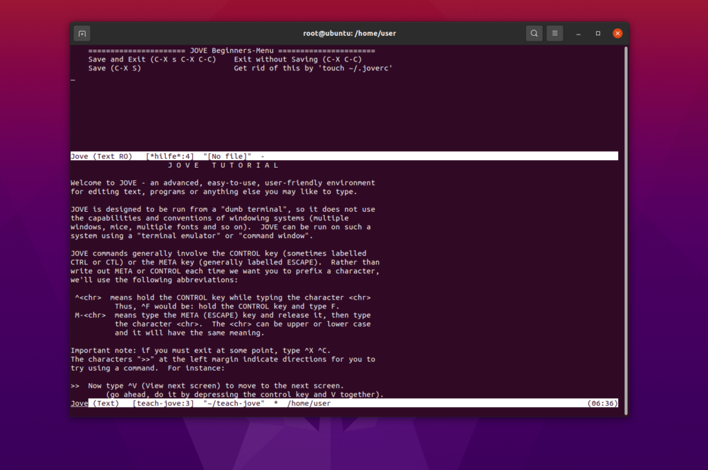 teachjove jove emacs ubuntu