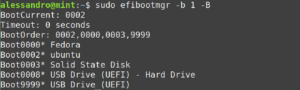 efi boot sequence efibootmgr removed