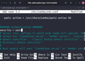 raspberry pi samba server config nas