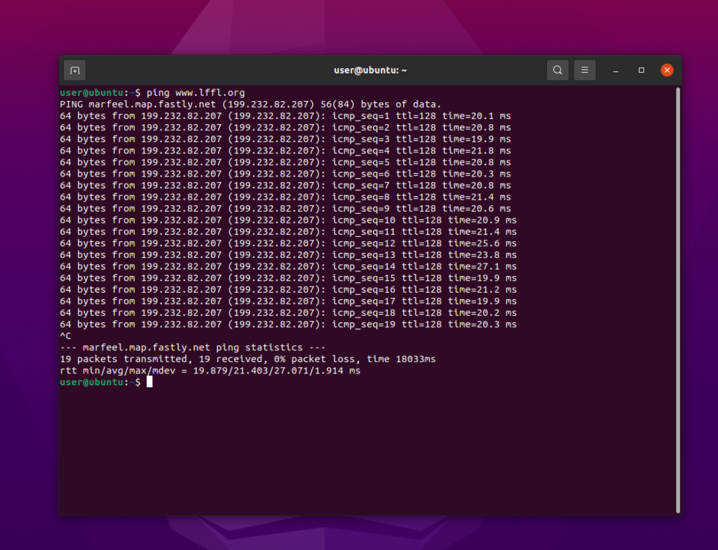 ping ubuntu