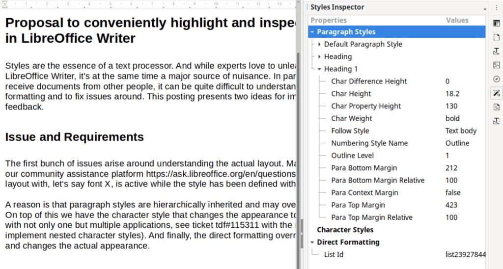 style selector libre office 7.1