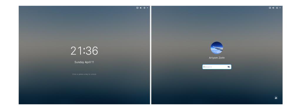 zorin OS 16 lockscreen