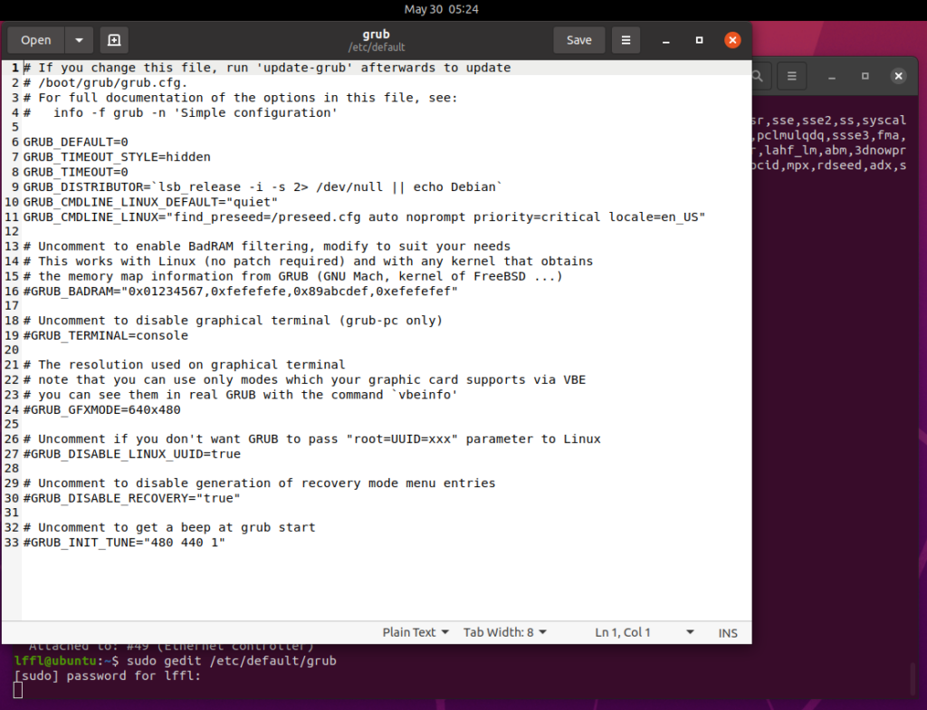 grub ubuntu