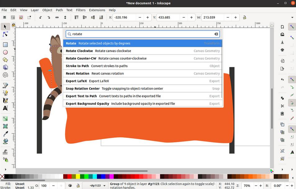 inkscape 1.1 palette comandi
