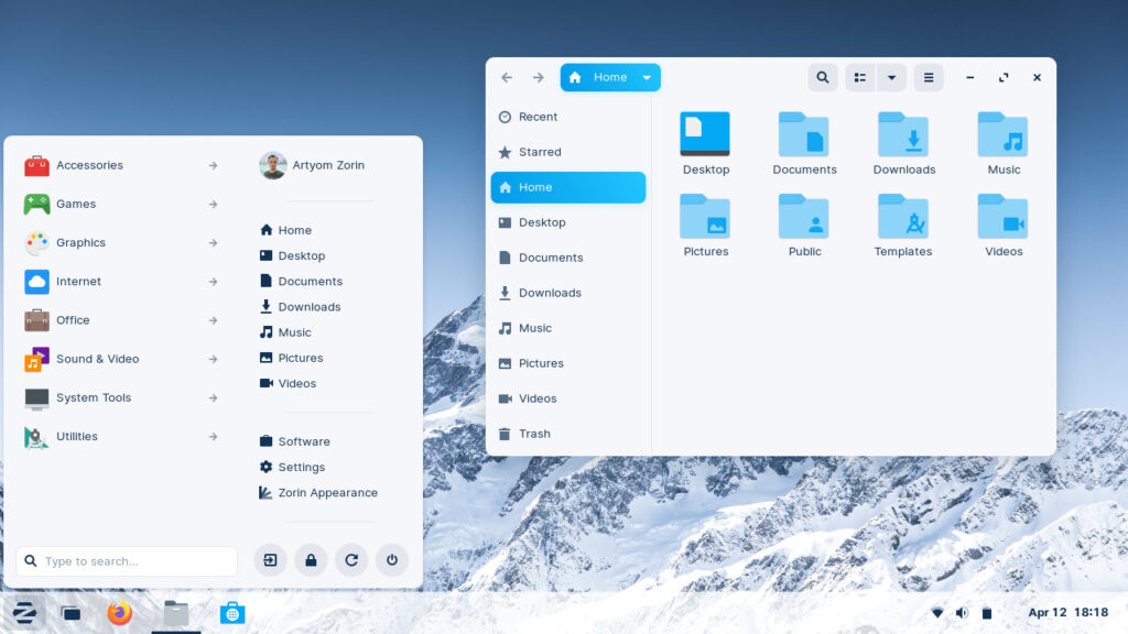 zorin os 16 desktop